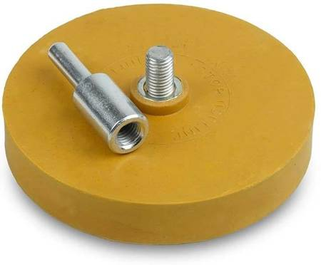 A disc with an adapter for removing adhesive after weights