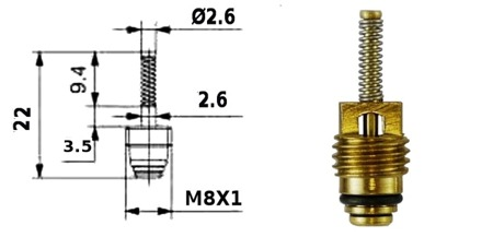 Wkład zaworu klimatyzacji 8mm niskiego ciśnienia